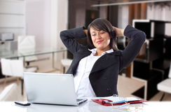 Good day. Woman relaxed happy of your work Royalty Free Stock Photography