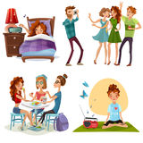 Good Day With Friends 4 Icons Royalty Free Stock Images