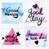Good Day lettering motivation watercolor stain Stock Photo