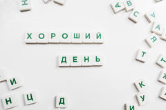 Good Day made from russian scrabble blocks Royalty Free Stock Images