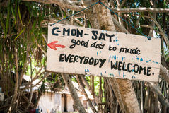 Good Day Made. A sign welcoming tourists to a small restaurant in the mangrove forrest. The northeastern part of the island of Nusa Lembongan, Bali, Indonesia Stock Images