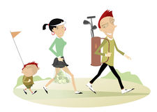 Good day for playing golf. Smiling man, woman and a boy are going to play golf Royalty Free Stock Photo