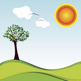 Good Day Sunshine. Simple, clean line, retro illustration of typical sunshine day Stock Photos