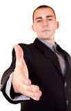 Good deal. Businessman is giving hand for good deal Royalty Free Stock Photography