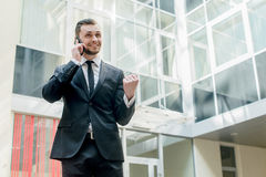 Good deal. Happy businessman celebrates his success. young man i Royalty Free Stock Photos