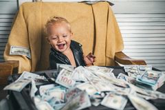Good deal. Small child do business accounting in startup company. Little entrepreneur work in office. Boy child with. Money case. Little boy count money in cash royalty free stock photography