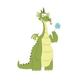 Good dragon with flower Stock Image