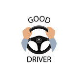 Good driver sign. Diver design element with hands holding steeri Stock Photo