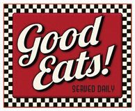 Free Good Eats Served Daily Diner Sign Stock Photography - 129591002