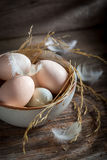 Good and ecological eggs from the countryside Stock Photo