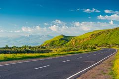 Good Empty Mountain Road With A Picturesque View Of The Mountains, The Landscape Stock Images