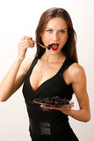 Good enough to Eat Woman Eating Blackberries  Royalty Free Stock Photo