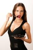 Good enough to Eat Woman Eating Blackberries royalty free stock photo