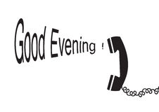 Good evening - vector. A silhouette of phone with good evening text, vector stock illustration