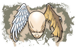 Between good and evil. Philosophical concept of human nature, two wings, angel and demon, grunge background, vector illustration Stock Photos
