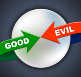 Good Evil Arrows Indicates All Right And Awesome Stock Photography