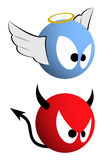 Good and evil emoticons Stock Photography