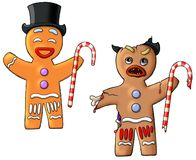 Good and Evil gingerbread men Stock Image