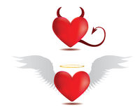 Good and evil hearts Stock Image
