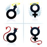 Good And Evil Man Woman Boy Girl Symbols. Good and evil man and woman. Male and female angel and devil symbols. Isolated vector illustration on white background Stock Photography