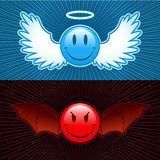 Good and evil smiley. Antagonism stock illustration