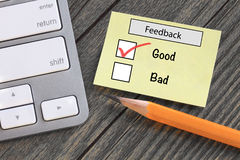 Good experience concept. Feedback in customer survey, showing good experience Royalty Free Stock Photography