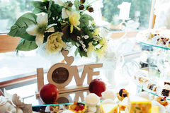 Good exquisite buffet table at a solemn event Royalty Free Stock Images