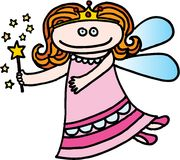 Good fairy. With magic wand on white background. vector image Stock Images