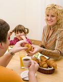 Good family. Have a breakfast at the table Royalty Free Stock Photos