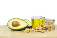 Good fats diet (avocado, dry fruits and oil) Royalty Free Stock Images
