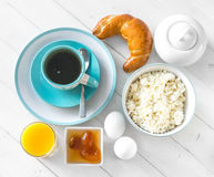 Good and filling country breakfast, topview royalty free stock image