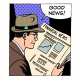 Good financial news businessman reading a. Newspaper. Retro style pop art. Business media Stock Photography