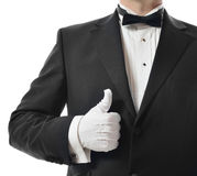 Good five star. Concept for a good five star service with a thumbs up from the waiter stock photography
