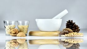 Good food as great medicine, Food plant protein alternative, Whole grains food, oat barn, rice, nuts, mushroom and soybeans. royalty free stock photography