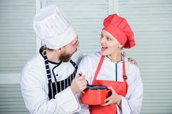Good food with best friend. couple in love with perfect food. Family cooking in kitchen. man and woman chef in stock image