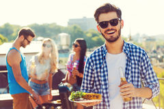 Good food with best friends. Stock Photo