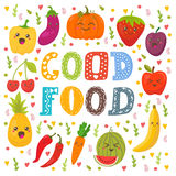 Good food. Cute happy fruits and vegetables in vector.  Stock Image