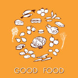 Good food doodle set various products. Fish, vegetables and much more. Poster good food with the products stylized hand drawing Stock Photography