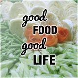 Good food good life quote. On blurred vegetables background Stock Photography
