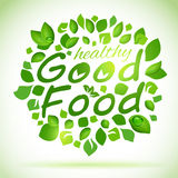 Good food green leafes label Stock Photos
