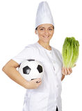 Good food for the health and deports. Attractive woman happy cook with good food for the health and it deports  a over white background Royalty Free Stock Photo