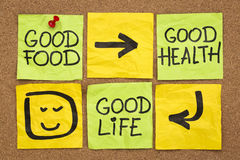 Good food, health and life. Healthy lifestyle concept - good food, health and life -  reminder words handwritten of sticky notes Stock Images