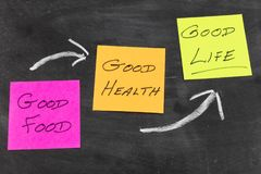 Good food health life inspiration notes. Good food healthy health life results concept sticky postit notes on chalk blackboard black board education school stock photos
