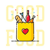 Good Food Paper Bag with Heart Symbol, Bread, Wine, Fish, etc. Abstract Vector Illustration. Shopping or Delivery Sign. Catering Icon. Isolated royalty free illustration