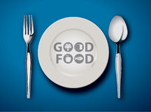 Good Food. Vector illustrator of Empty plate  on a blue background, Good Food Concept Royalty Free Stock Images
