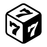 Good fortune dice with lucky sevens on every side. Great luck symbol Flat icon. Black and white vector Illustration isolated on white background Stock Photos