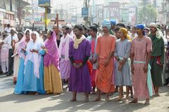 Good friday 2012. In these times of religious and racial tension, 9000 miles away in a small town in India a procession took place which sent out a strong stock photos