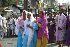 Good friday 2012. In these times of religious and racial tension, 9000 miles away in a small town in India a procession took place which sent out a strong royalty free stock images