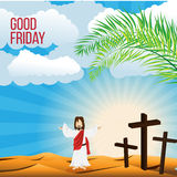 Good Friday background concept  Illustration of Jesus Christ with arm wide open Stock Images