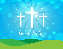 Good Friday. Background with white cross and sun rays in the sky Stock Images